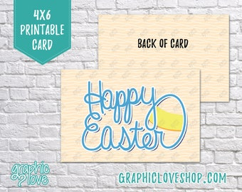 Printable Handlettered Happy Easter 4x6 Card - Folded + Postcard   High Res Digital JPG File, Instant Download, NOT Editable, Ready to Print