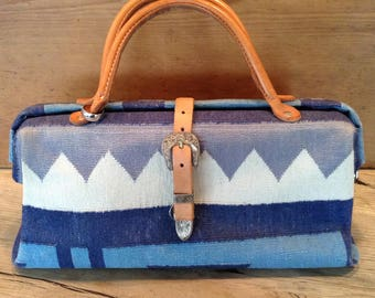 T. Cappelli Blue Denim Dhurrie Kilim Handbag with SIgnature Silver Ring and Western-Inspired Buckle, Circa 1980's