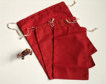 """10 pcs 10"""" x 12"""" RED Double Drawstring Bags - Red Velvet - Muslin Bags"""