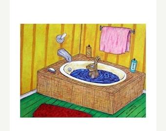 25% off bunny art - Bunny Rabbit Taking a Bath Animal Art Print - bunny gift