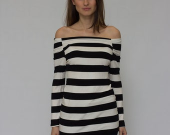 Black and White Tunic/Top/Off Shoulder Top