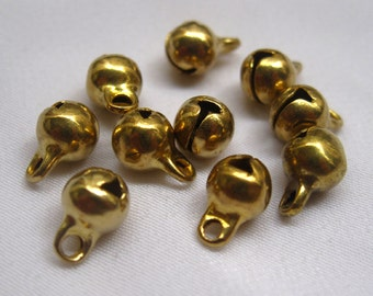 100pcs 6mm Raw Brass Jingle Bells Charm Findings in Gold b001