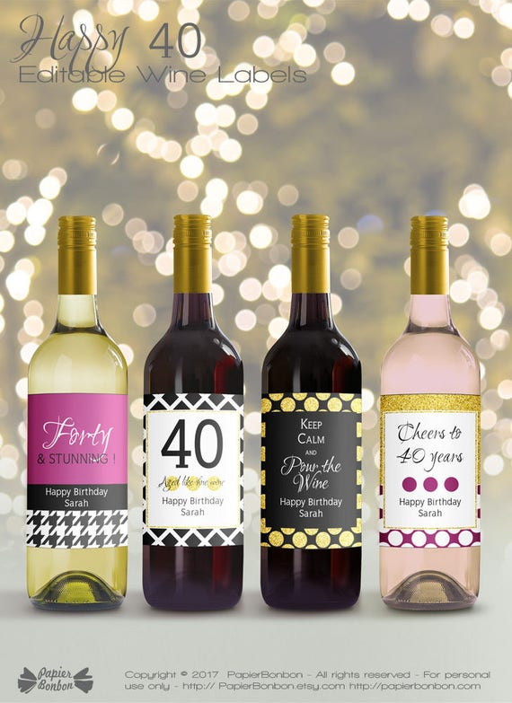 Editable Wine Bottle Labels For Th Birthday Printable - Blank commercial invoice template best online wine store