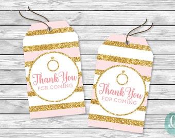 Bridal Shower Favor Tags / Bridal Shower Printable Thank You Tags / Engagement Thank You Tags Printable / Gold Glitter Pink Engagement Ring