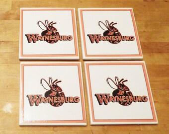 Waynesburg Coasters, Waynesburg University Gift, Decor, Yellow Jackets Fan, Mom, Dad, Grad, Women, Men, Roommate, Sorority Gift, Set of 4