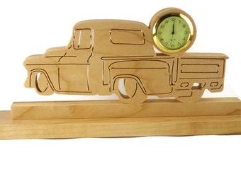 Antique Truck Desk Or Shelf Clock Handmade From Cherry Wood By KevsKrafts,  Hotrod,