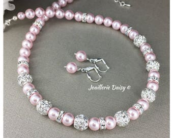 Bridesmaid Gift Pink Necklace Swarovski Rosaline Pearl Necklace Bridesmaid Necklace Pink Pearl Jewelry Gift Idea Wedding Jewelry