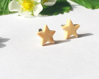 Peach yellow star porcelain and sterling silver studs, yellow celestial ceramic earrings, handmade in Wales, Britain