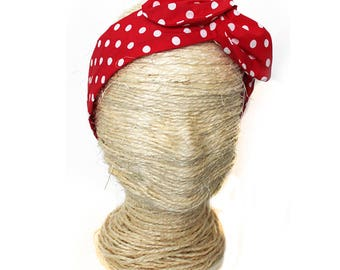 Headband Flexible Wire - Red Polka Dots