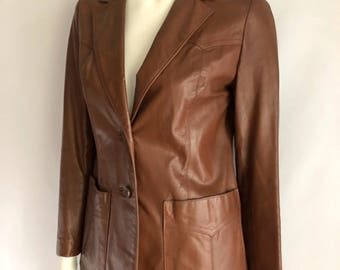 Vintage Women's 80's Brown, Leather Jacket, Button Down, Fully Lined by Daniel Phillips (S)