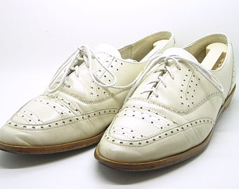 Thom Browne Shoes Oxford Cream White Lace up Flats 9M teamvintageusa ecochic