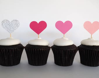 READY TO SHIP! Heart cupcake toppers   Love heart toppers   1st birthday toppers   Baby shower toppers   first birthday toppers