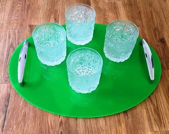 """Oval Serving Tray with Chrome Handles in Bright Green Gloss Finish 3mm Thick & Rubber Feet. Size 40cm x 30cm, 16"""" x 12"""""""