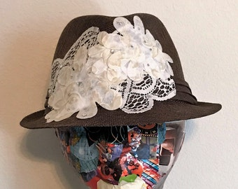 Women's Hand-Decorated Brown Straw Fedora with Cream Lace