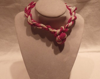Vintage Pink and White Rope Choker