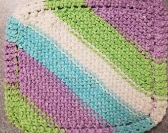 Handmade Knitted Dishcloth - Violet Stripes