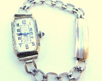 Solid 18K Gold, Art Deco Enamel, Vintage Ladies' Watch W/ Engraved Chain, Just Serviced, Antique Working Mechanical Watch