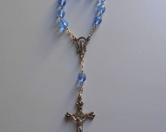 Vintage Beautiful Italian Rosary for Baby, Blue Beads, Virgin Mary, Religious