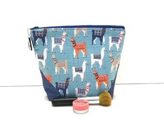 Llama Cosmetic Bag, Large Cosmetic  Bag,  Llama Bag, Llama Print, Cosmetic  Bag, Makeup Case, Cosmetic Organizer, Llama Gifts