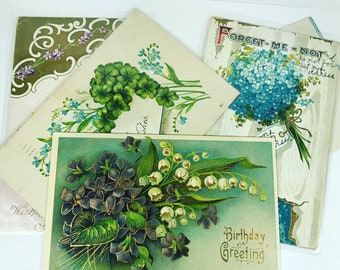 Vintage postcards set of 5 post cards Flower Blue Forget Me Nots Theme