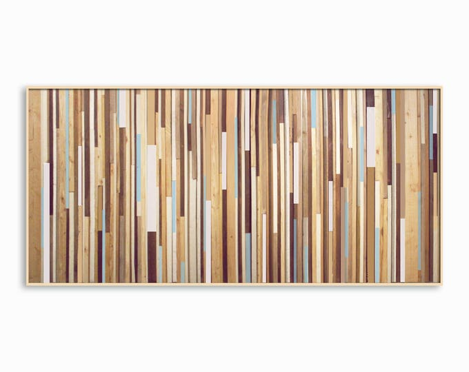 "Blue Wash Modern Reclaimed Wood Wall Art 36x72"" - Modern Wood Art - in Browns, Tan, Cream, Light Blue, and Gray Stripes"