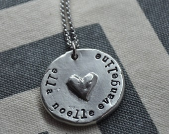 Hand Stamped Pewter Pendant with Heart Personalized Necklace
