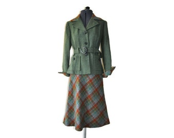 Vintage Wool Belted Suit with Bakelite Buttons and Buckle // Green and Brown Check Suit Small // UK Size 6/8