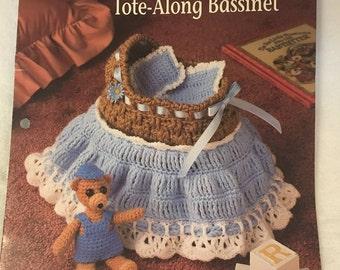 Vintage Annie's Attic Crochet Teddy Tote-Along Bassinet, Baby Teddy Bear Pattern, Teddy's Wardrobe Pattern, 1991