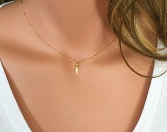 14K Crystal and Gold Itsy Bitsy Teeny Weeny CZ Crystal Cross Necklace on Ball Chain // Crystal Cross // Tiny Cross // Diamond Cross // CZ