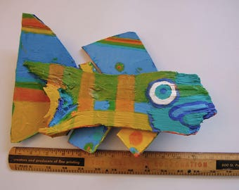 Fish Art - Painted Whimsical Recycled Wood Sculpture Funky Fish Art - Ready to Hang in Kitchen, Bath, Kids Room or Lake House