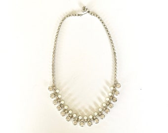 Vintage Necklace | White Rhinestone and Pearl Necklace | Statement Jewelry | Formal, Bridal Accessory