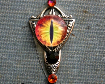 Fire Dragon Eye Reusable Bindi - Tribal, Belly Dance, Steampunk, Facial Adornment, Orange, Facial Jewelry, Forehead Jewelry
