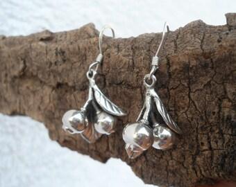 Cute silver earrings, handmade silver earrings, sterling silver earrings 925, dangle & drop silver earrings, fruit earrings
