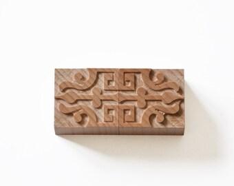 Letterpress Palmette Motifs No. 10 - Wood type, 2 pieces