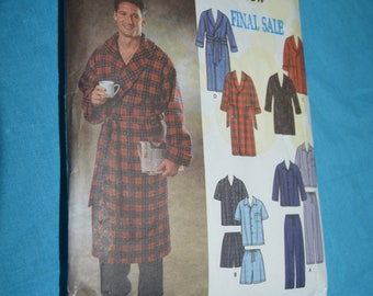 Simplicity 7045  Mens Pajamas and Robe each in Two Length Sewing Pattern  - UNCUT - Size  Xs S M
