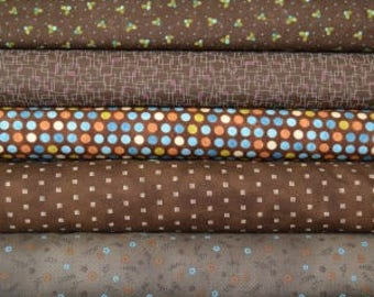 Brown fat quarter fabric bundle