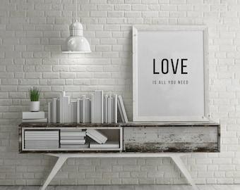 Scandinavian print, Love Print, Home decor print, Nordic Digital Print, Black White digital Print, Minimalist Ar, Black and white print