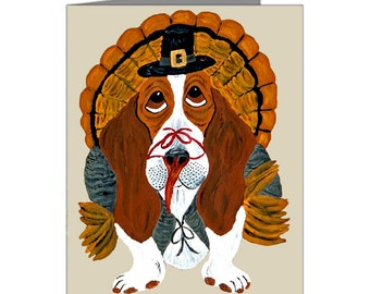Basset Cards /Basset Turkey Cards/Basset Hound Cards/Thanksgiving Cards/(Pack of 10 Note Cards & Envelopes)/Assortment Available/Turkey