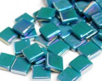 "12mm (1/2"") Deep Teal Pearlized Recycled Glass Square Mosaic Tiles//Mosaic Supplies//Craft Supplies"