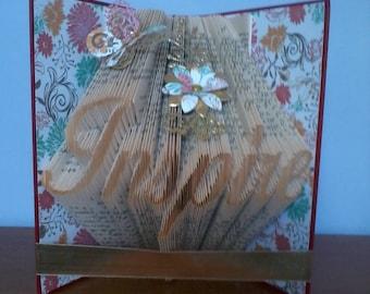 "Beautiful ""Inspire"" book sculpture gift."