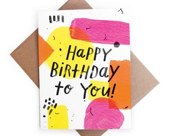 Happy Birthday to You Abstract Watercolor Paint Card