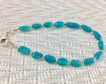 Sleeping Beauty Bracelet, Turquoise Nugget Bracelet, Genuine Turquoise Bracelet, Turquoise Sterling Bracelet, Beaded Turquoise Bracelet