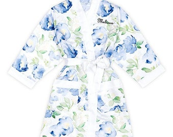 Bridesmaid Robes for Wedding Day Robes personalized - Bride Bridesmaid Bridal Party Personalize Custom Name Robes in extended plus sizes