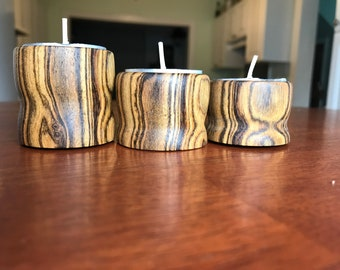 Hand Turned Tea Light Candle Holders Set Of 3!