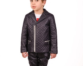 Boys leather jacket, Black faux leather quilted jacket, Stylish leather boys outfit, Toddler boy zipper blazer, Trendy Eco clothing kids