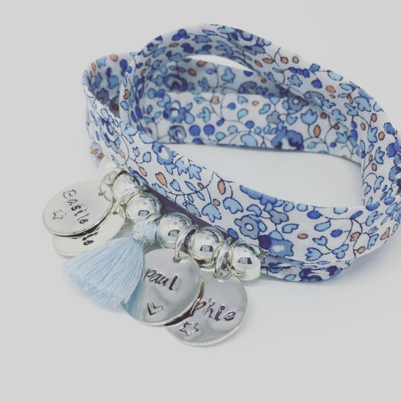 Bracelet GriGri XL Liberty Eloise blue with 4 custom ENGRAVINGS and tassel by Palilo