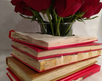 Recycled Book Stack Vase/Decor