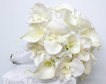 White wedding bouquet - Bridal bouquet, White calla lily orchid bouquet, Real touch wedding flowers