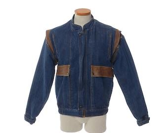 Vintage 70s Denim Jacket, 1970s Oui Convertible Vest Jacket, Denim and Leather Cafe Racer Bomber Jacket / Mens M