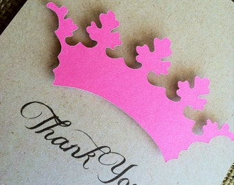 Thank you cards - CUSTOM - Pink - Tiara - Princess - Recycled  - Eco - New Baby - New Mom - Bridal - Shower - Set of 16